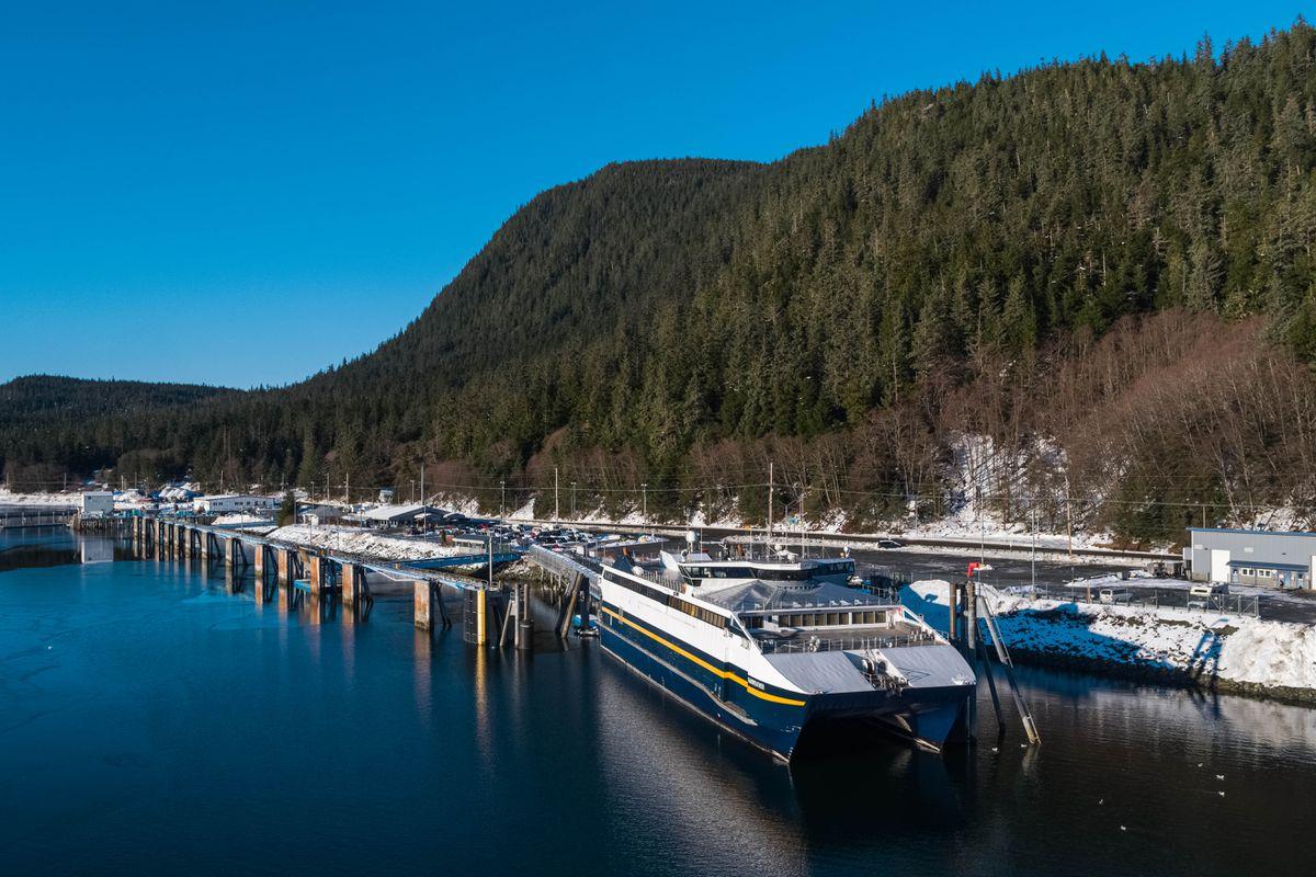 The FVF Fairweather, docked at the Juneau ferry terminal on Thursday, Jan. 17, 2019. (Loren Holmes / ADN)
