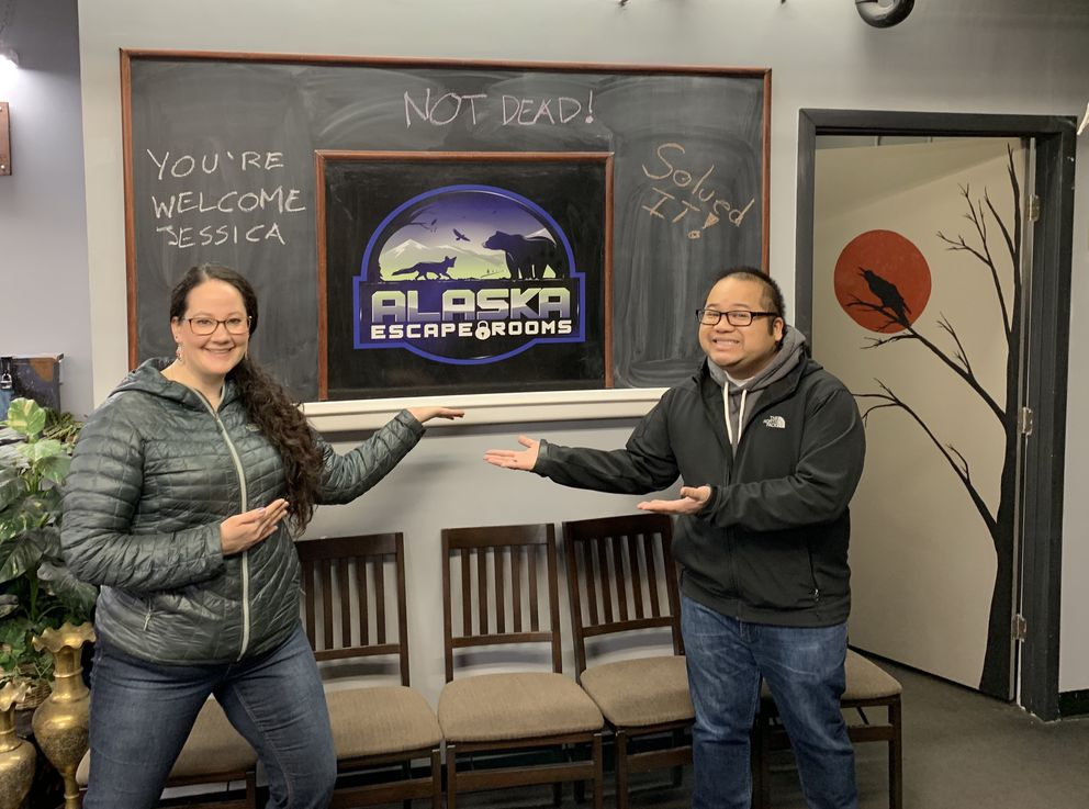 Makar and Jardin at Alaska Escape Rooms (Photo provided by Matt Jardin)