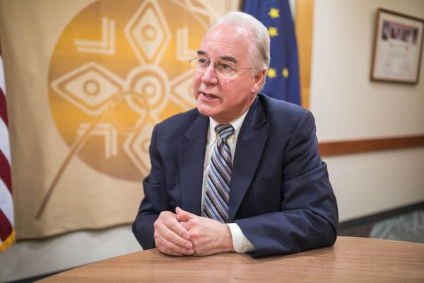 U.S. Secretary of Health and Human Services Tom Price speaks to reporters at Southcentral Foundation's Primary Care Center Friday, Aug. 18, 2017. (Loren Holmes / Alaska Dispatch News)