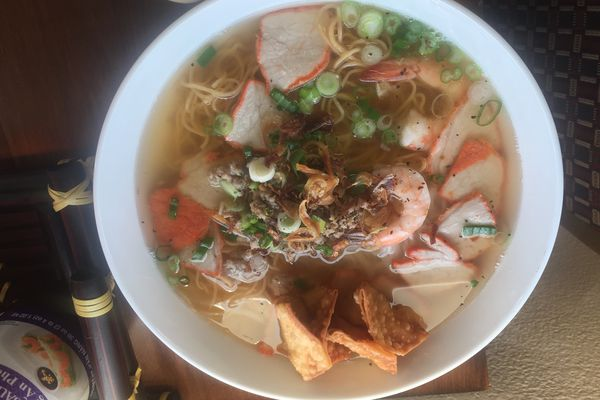 Hu tieu mi, a seafood noodle soup, at Gia Dinh, a new Vietnamese restaurant in Anchorage. (Mara Severin)