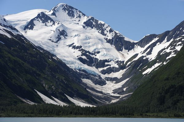 View of Byron Glacier in the Kenai Mountains from across Portage Lake in the Chugach National Forest on Tuesday, June 21, 2016. (Bill Roth / Alaska Dispatch News)