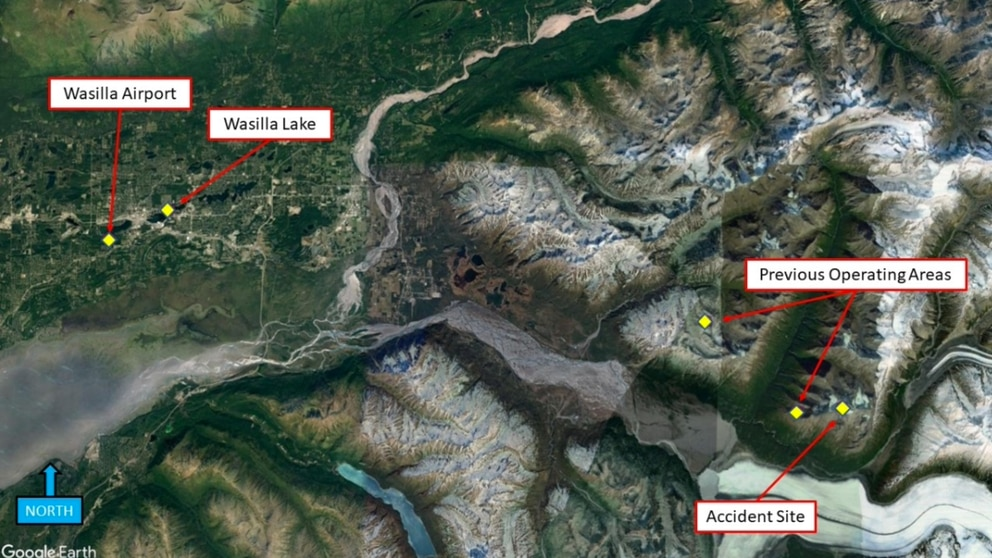 GPS data from a helicopter that crashed March 27 above Knik Glacier shows the track of the flight from Wasilla to the Chugach Mountains, where they made several trips that afternoon. The crash killed five people and left one survivor. (National Transportation Safety Board)