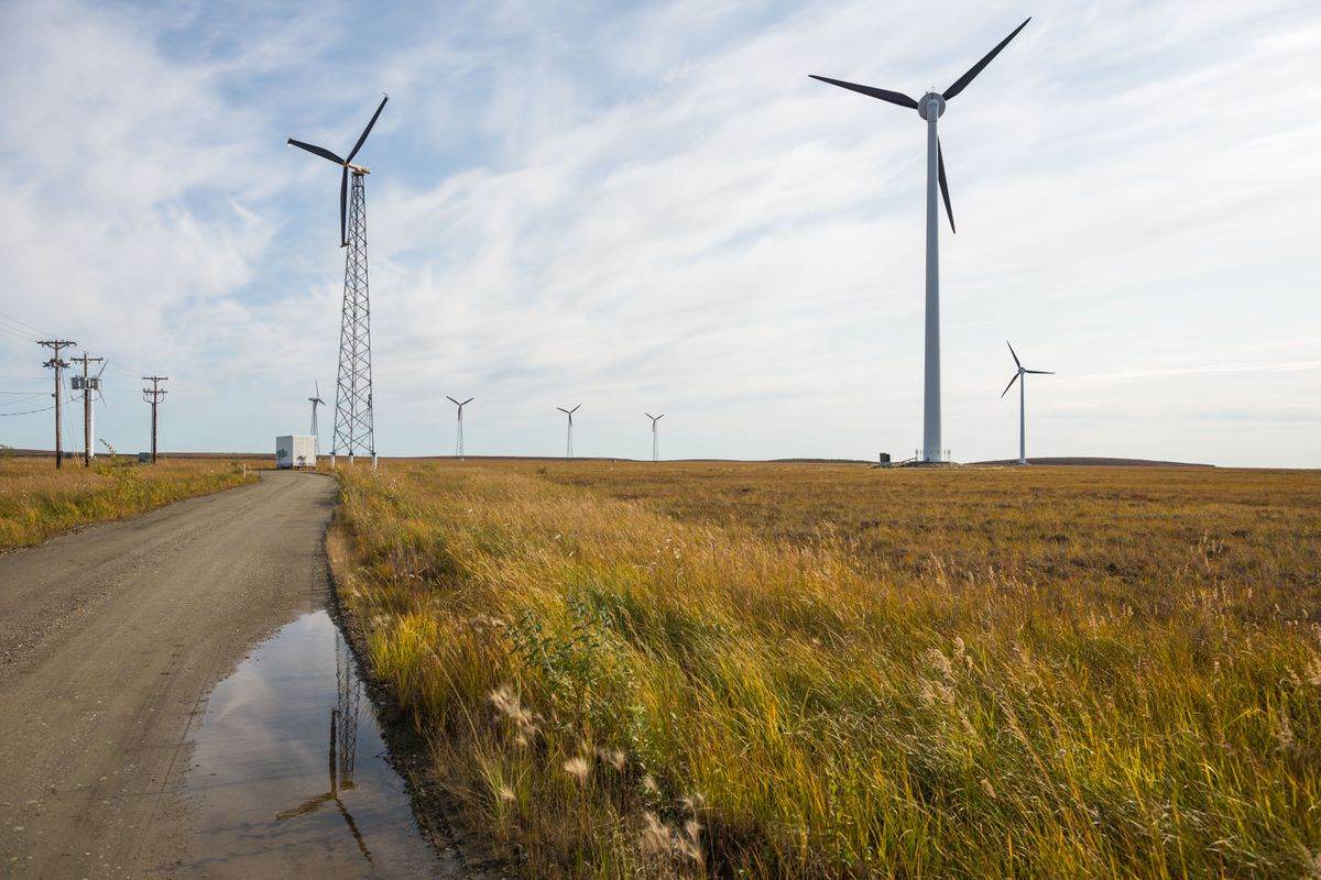 Wind turbines generate electricity in Kotzebue on September 1, 2015 (LOREN HOLMES / ADN)