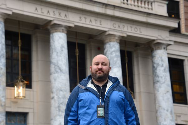 Political writer and former state legislative candidate Jeff Landfield is seen on Monday, Feb. 22, 2021 in front of the Alaska State Capitol in Juneau. (James Brooks / ADN)