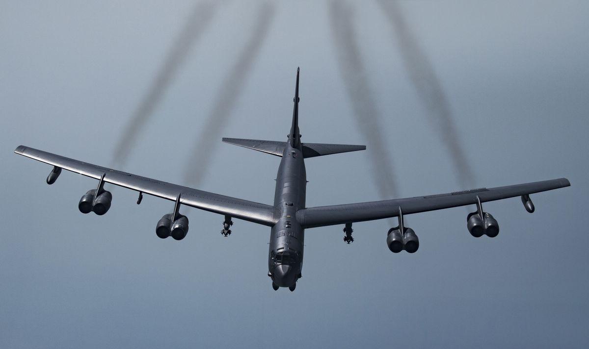 A U.S. B-52H Stratofortress in flight. (Senior Airman Keifer Bowes/U.S. Air Force via AP)
