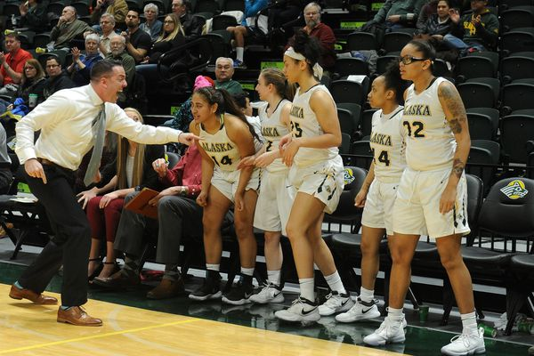 UAA head coach Ryan McCarthy sends a couple of his players into the basketball game against Concordia-Portland, at the Alaska Airlines Center in Anchorage, Alaska on Saturday, Jan. 13, 2018. UAA defeated Concordia-Portland 76-68. (Bob Hallinen / ADN)