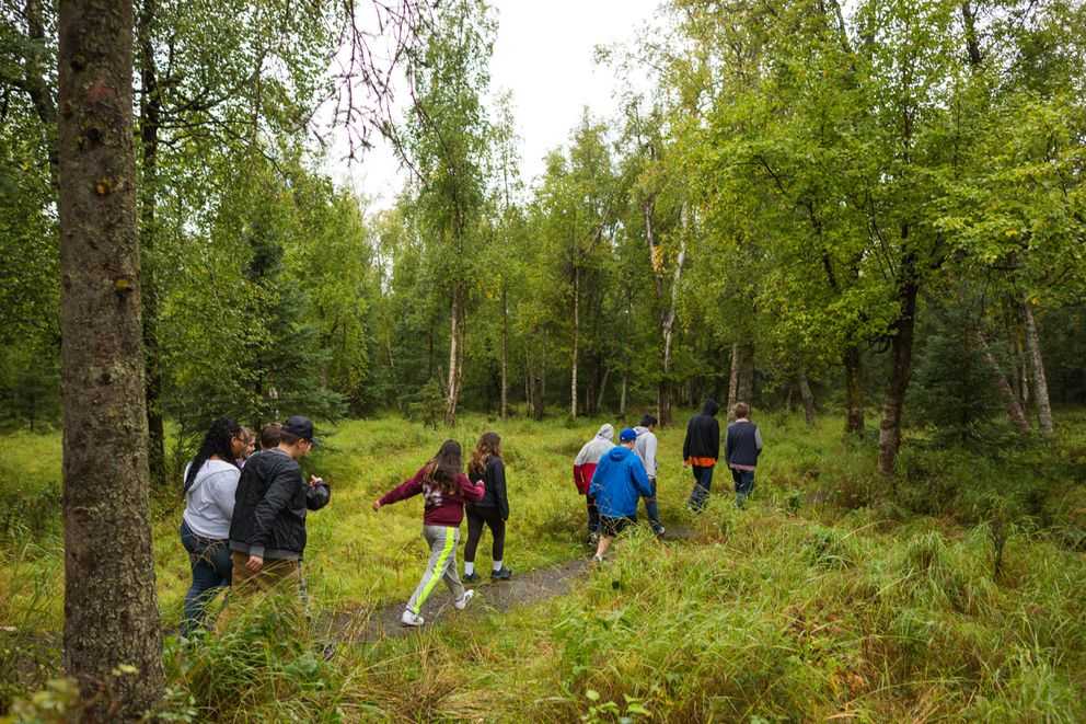 STrEaM Academy students walk through Arnold Muldoon Park. (Loren Holmes / Alaska Dispatch News)