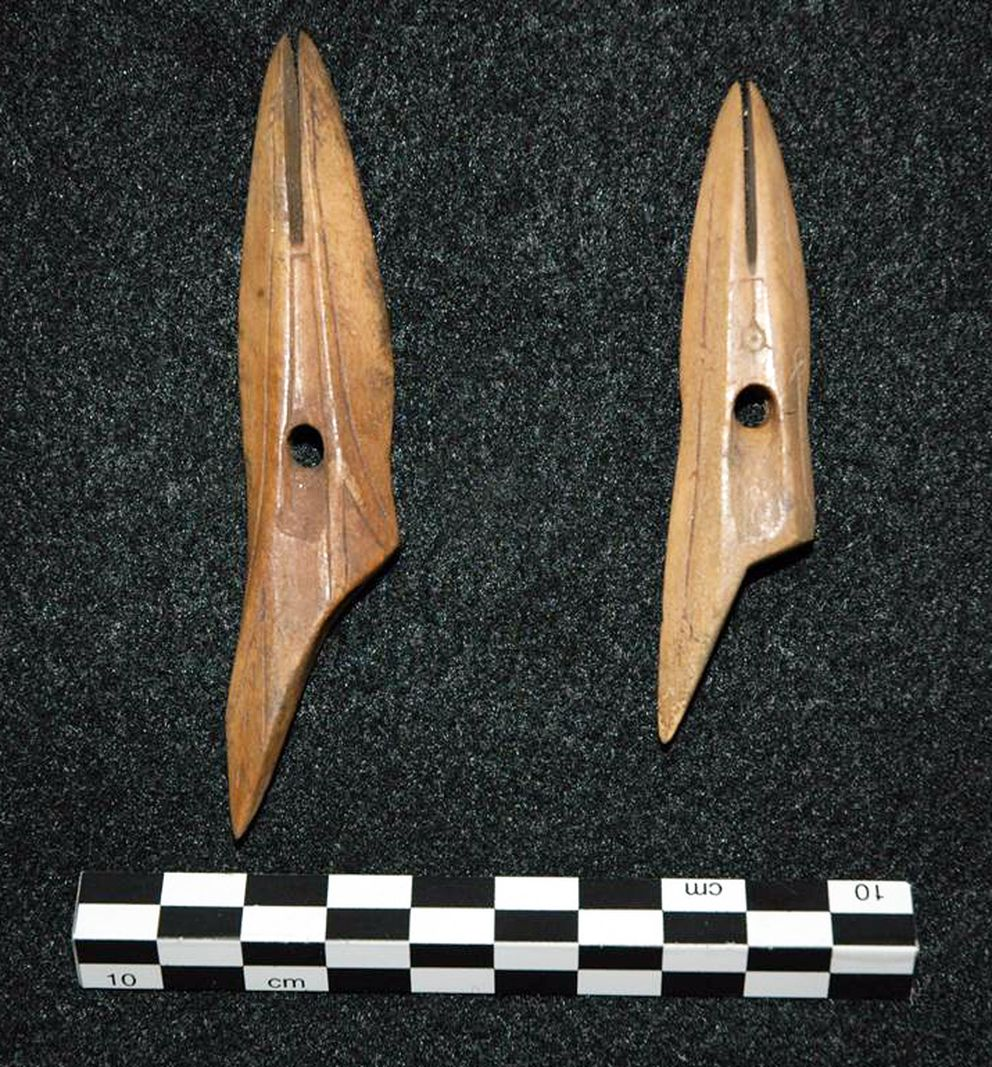 These harpoon heads were uncovered in 2013, when construction workers laying cable for a new 3G network stumbled upon some artifacts near a Kotzebue beach. Notable pieces may be viewed online. (GCI)