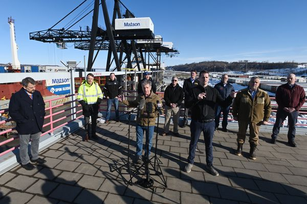 Anchorage Mayor Ethan Berkowitz held a press conference at the Port of Alaska on Sunday, March 22, 2020. (Bill Roth / ADN)