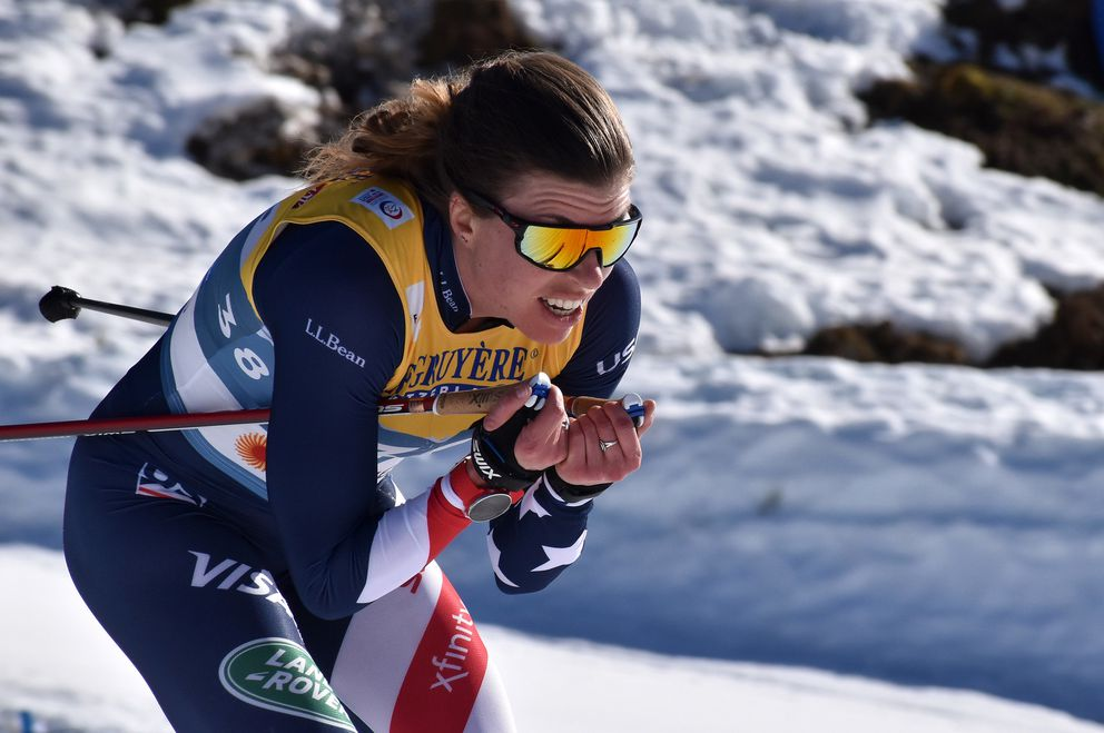 Anchorage's Rosie Brennan on her way to a 17th-place finish in the women's 10-kilometer freestyle race at the World Championships in Oberstdorf, Germany, on Tuesday, March 1, 2021. (Photo courtesy U.S. Ski & Snowboard)