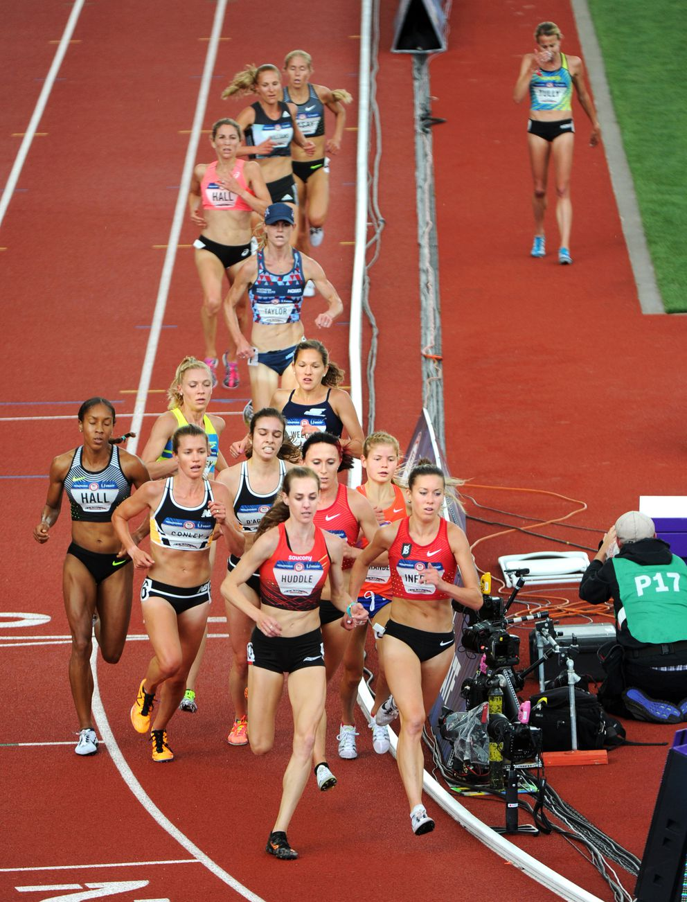Allie Ostrander, second from right, runs with the lead pack early on before recording an eighth-place finish in the finals of the women's 5,000 meters at the U.S. Olympic Team Trials for Track and Field on Sunday afternoon, July 10, 2016, at Hayward Field in Eugene, Oregon. (Erik Hill / Alaska Dispatch News)