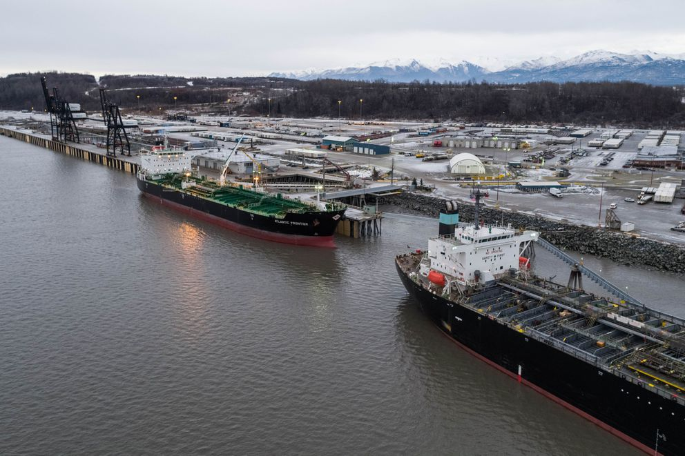 Tankers Atalanta T and Atlantic Frontier offload a combined 525,000 barrels of jet fuel at the Port of Alaska on Friday, Nov. 16, 2018. (Loren Holmes / ADN)