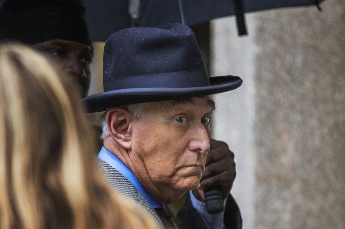 In this Nov. 12, 2019 file photo, Roger Stone, a longtime Republican provocateur and former confidant of President Donald Trump, waits in line at the federal court in Washington. (AP Photo/Manuel Balce Ceneta)