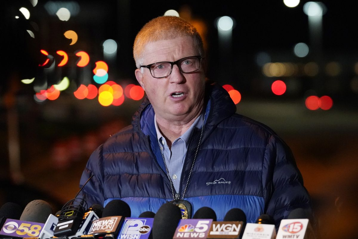 Wauwatosa Police chief Barry Weber speaks at a news conference, Friday, Nov. 20, 2020, in Wauwatosa, Wis. Multiple people were shot Friday afternoon at the Mayfair Mall in Wauwatosa, Wis., and police are still searching for the shooter. (AP Photo/Nam Y. Huh)