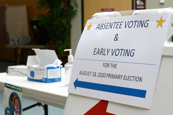 Early voting for Alaska's Aug. 18 statewide primary election opened on Monday, Aug. 3, 2020. At the District 1 early voting site in Juneau, a table of hand sanitizer, masks and gloves greeted prospective voters. (James Brooks / ADN)