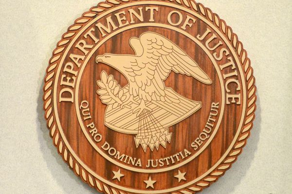 The Department of Justice insignia at the James M. Fitzgerald U.S. Courthouse and Federal Building in downtown Anchorage. (Erik Hill / ADN)