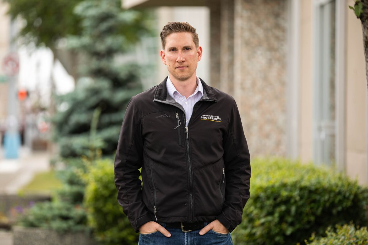 Jeremy Price, Alaska state director of Americans for Prosperity, photographed in downtown Anchorage on Wednesday. (Loren Holmes / ADN)