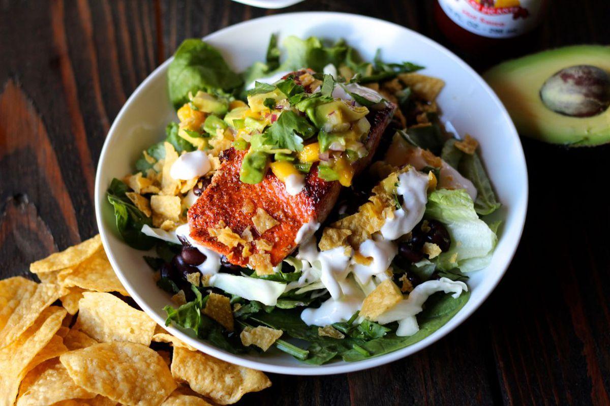 Salmon taco salad (Photo by Maya Wilson / Alaska from Scratch)