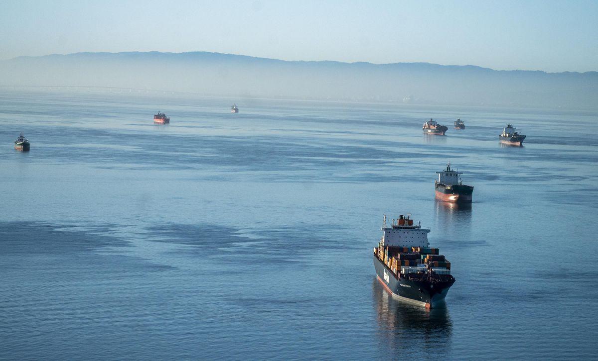 Cargo ships wait to enter the Port of Oakland on March 26, 2021. (Washington Post photo by Melina Mara)