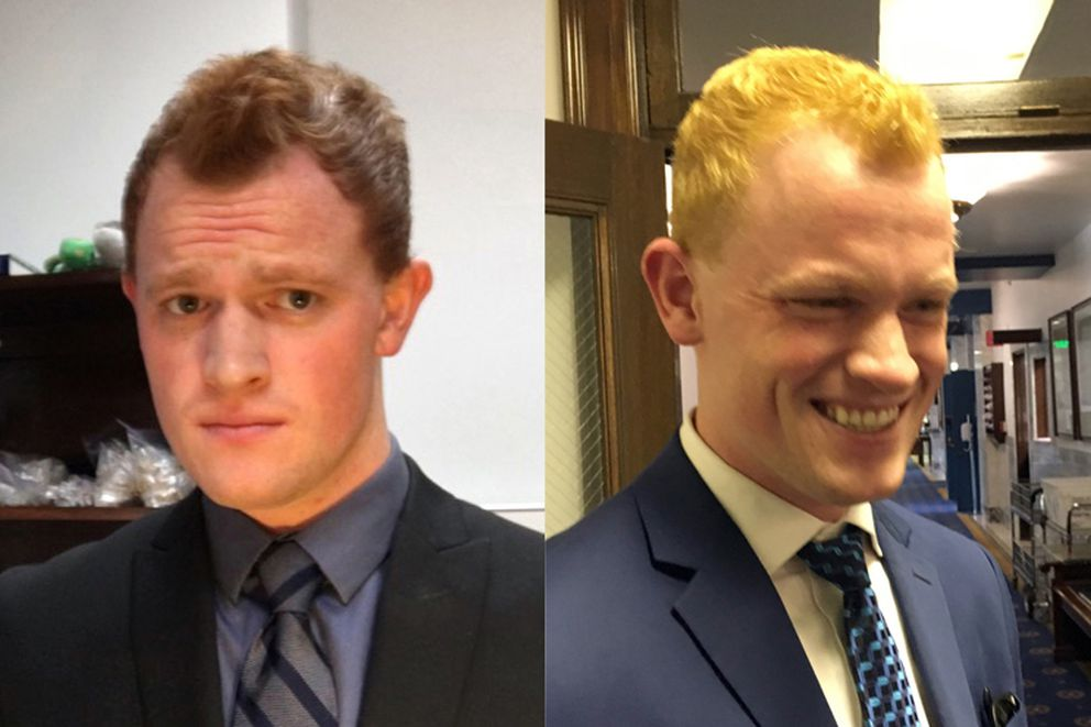 Nate Graham, 22, an aide to Juneau Democratic Rep. Justin Parish, bleached his hair Saturday to avoid being mistaken for Wasilla Republican Rep. David Eastman, who was criticized last week for claiming that women in rural villages get pregnant so that they can get a free trip to Anchorage for an abortion. He is shown before, left, and after. (Courtesy Nate Graham / Nathaniel Herz / Alaska Dispatch News)
