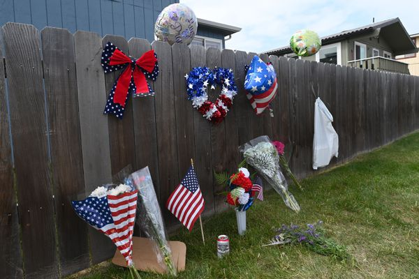 A memorial on Sunday, July 5, 2020, honors the man who was fatally shot at the 130 block of Klevin Street in Mountain View on Independence Day. Sharlene Townsend was questioned by detectives and arrested on charges of first-degree murder, assault and evidence tampering. (Bill Roth / ADN)