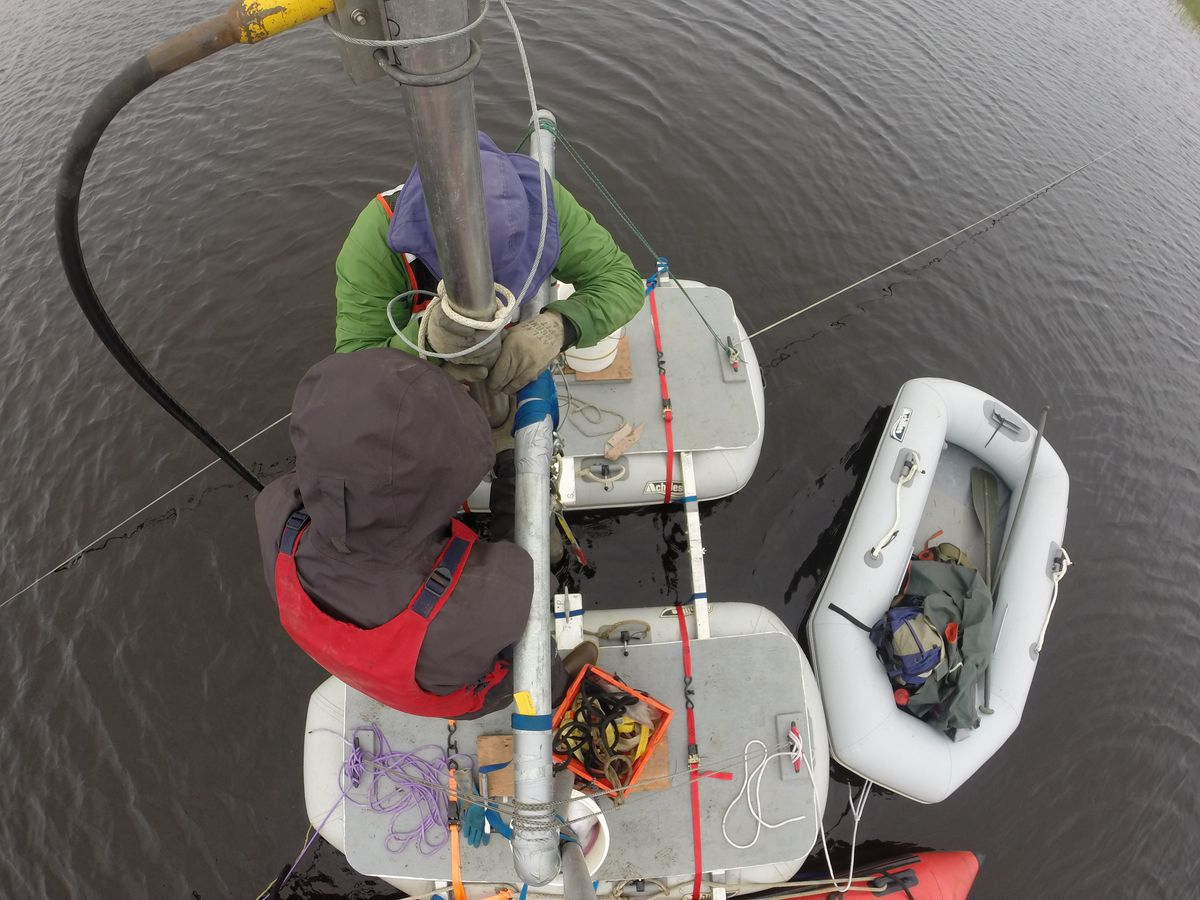 From above, Chris Maio (in green) and graduate student Reyce Bogardus pull a sediment core from a lake near Cape Espenberg. (Chris Maio)