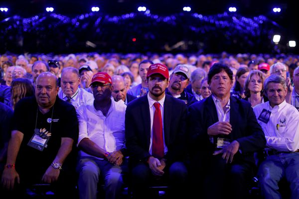 Supporters wait for U.S. President Donald Trump to deliver remarks at the National Rifle Association (NRA) Leadership Forum at the Georgia World Congress Center in Atlanta, Georgia, U.S., April 28, 2017. REUTERS/Jonathan Ernst