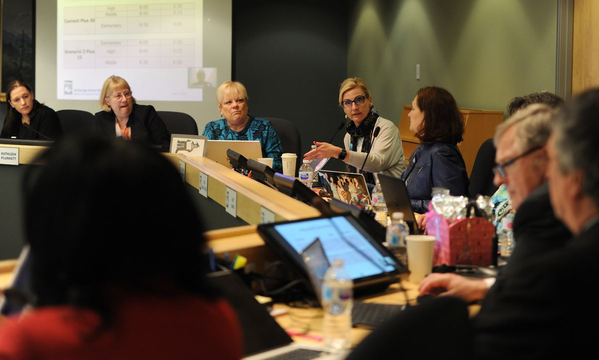 Superintendent Dr. Deena Bishop gestures while speaking during a work session inside of ASD headquarters as the School Board heard a report on school start times on Monday, May 7, 2018. (Bill Roth / ADN)