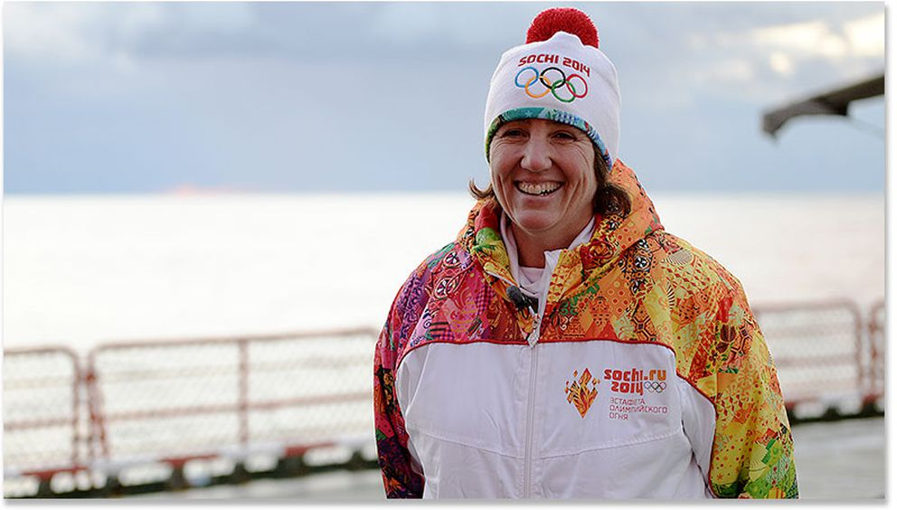Pat Pitney spent 10 days on a Russian icebreaker while participating in the Olympic torch relay prior to the 2014 Winter Olympics in Sochi, Russia. Pitney traveled from Murmansk, Russia, to the North Pole with a group of people representing eight Arctic nations. (Photo courtesy Pat Pitney)