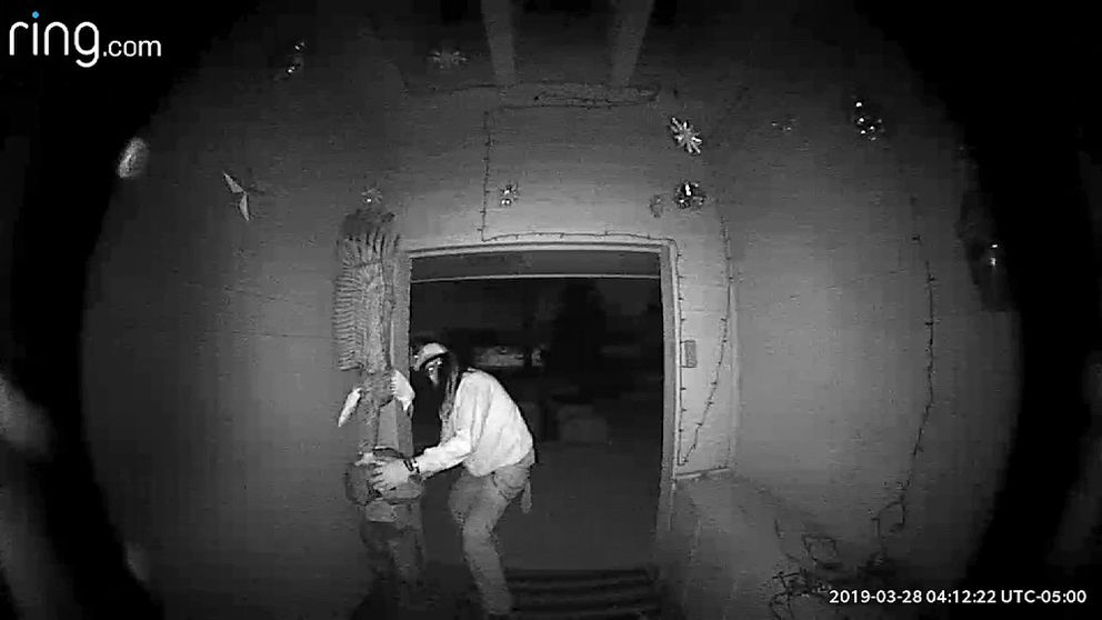 In this Saturday, March 23, 2019, image made from video, a man tries to leave with an bald eagle carving at the Coon Rapids, Minn., home of Larry and Vicki Eklund. A thief stole the 7-foot, 150-pound carving from the Eklunds' yard. Police had a key piece of evidence, though: An image of the suspect looking directly into the Eklunds' doorbell camera (Courtesy of Larry and Vicki Eklund via AP)