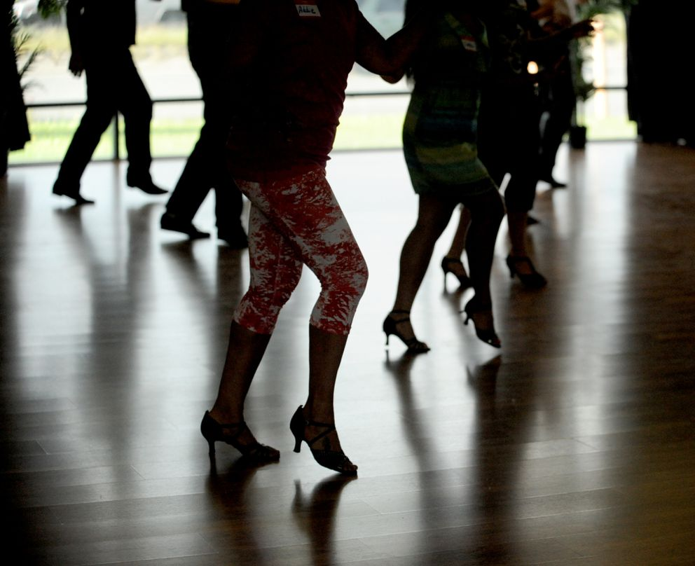Students work on their steps during a salsa dance class in the AK Dance Promotions studio on Dimond Blvd. in South Anchorage on Tuesday, June 17, 2014.