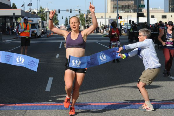 Keri McEntee of Fairbanks was the overall winner and set a women's record in the Humpy's Marathon during RunFest in downtown Anchorage on Sunday morning, Aug. 18, 2019. (Bill Roth / ADN)