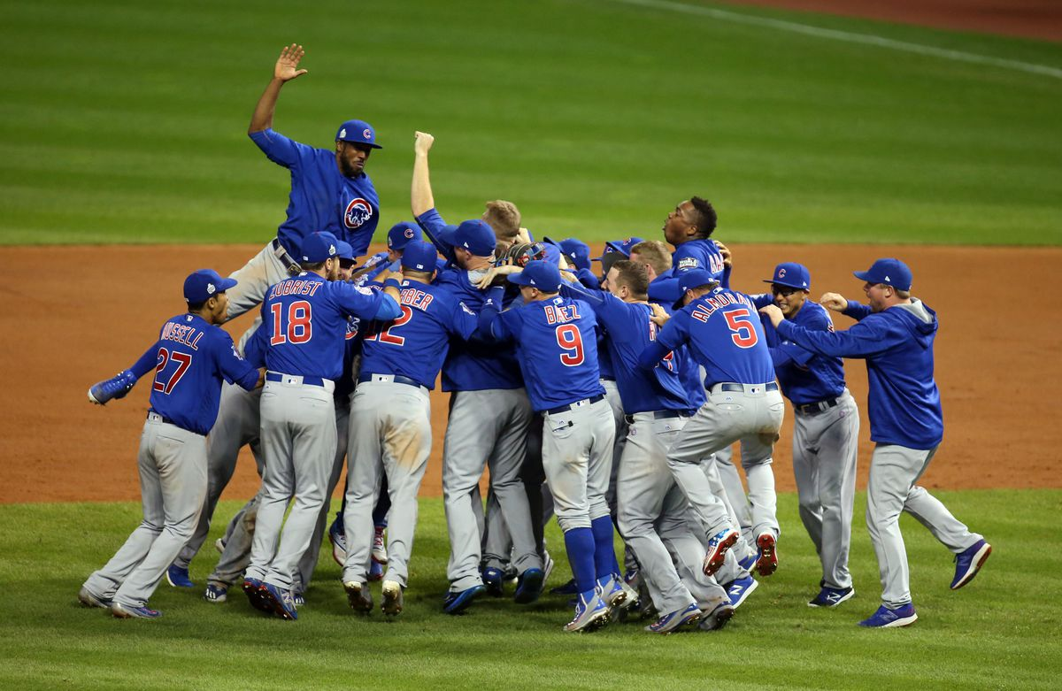 Nov 2, 2016: Chicago Cubs players celebrate after defeating the Cleveland Indians in game seven of the 2016 World Series at Progressive Field. Charles LeClaire-USA TODAY Sports