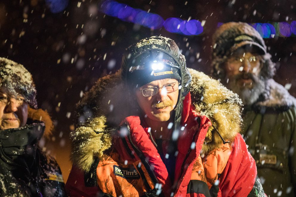 Mitch Seavey waits for the countdown to finish before leaving the Takotna checkpoint on Wednesday, March 7, 2018, after he completed his mandatory 24-hour rest. (Loren Holmes / ADN)