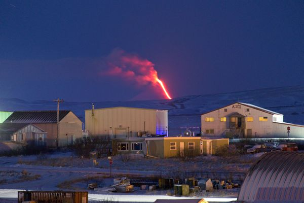 Shishaldin volcano in eruption, January 18, 2020, as viewed from Cold Bay. Photo courtesy of Aaron Merculief.