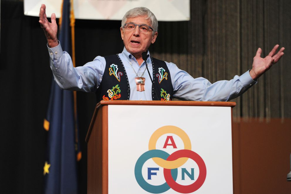 Lt. Gov. Byron Mallott spoke about the Alaska state budget during a speech to delegates gathered on the opening day of the Alaska Federation of Natives Convention at the Dena'ina Center in Anchorage on Thursday, Oct. 19, 2017. (Bill Roth / Alaska Dispatch News)