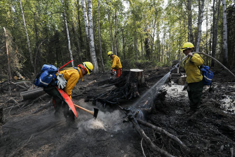 Members of the Yukon Flats crew reinforce the fire line on the McKinley fire, Aug 23, 2019. (Loren Holmes / ADN)