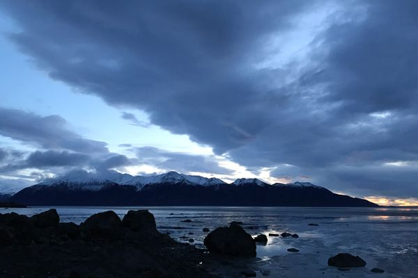 Darkness begins to settle in along Turnagain Arm after sunset on Monday afternoon, Dec. 16, 2019, less than a week from winter solstice. (Bill Roth / ADN)