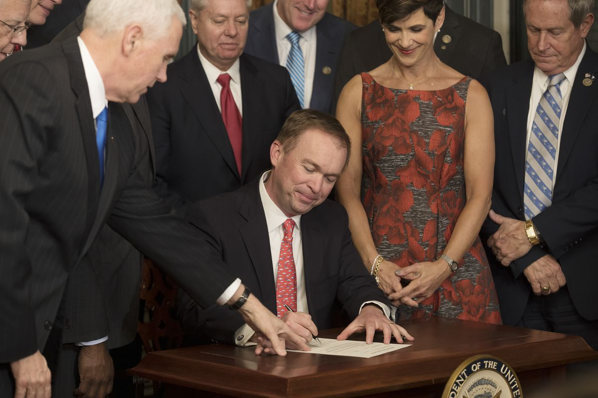 Mick Mulvaney, formerly a representative of South Carolina, at his swearing in as the new White House budget director, in Washington, Feb. 16, 2017.(Stephen Crowley/The New York Times)