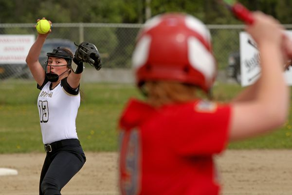South Anchorage pitcher Sabrina Jolin winds up for a throw against West Valley in Division I action during an opening round game in the 2018 ASAA Girls High School Softball State Championship Tournament at South Davis Park Thursday afternoon, May 31, 2018. West Valley defeated South High 10--7. (Eric Engman / News-Miner)