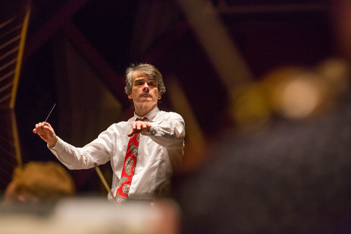 Randall Craig Fleischer conducts the Anchorage Symphony Orchestra during a rehearsal at the Alaska Center for the Performing Arts on Nov. 11, 2015. (Loren Holmes / ADN archive 2015)