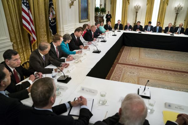 President Donald Trump hosts Republican senators to discuss health care legislation, at the White House in Washington, June 27, 2017. The Trump team's heavy-handed tactics helped pass legislation through the House but have been ineffective in the Senate, leaving him on the sidelines while Vice President Mike Pence has led the effort to salvage the foundering bill. (Doug Mills/The New York Times)