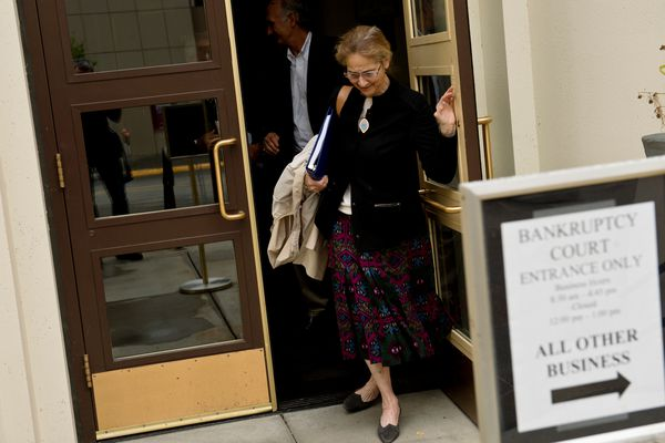 Alice Rogoff, owner of Alaska Dispatch News, exits the Old Federal Building after a hearing in bankruptcy court regarding Alaska Dispatch News on September 7, 2017. (Marc Lester / Alaska Dispatch News)