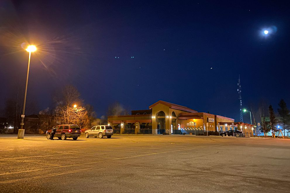 A handful of vehicles are in the parking lot at La Mex Tuesday, Nov. 3, 2020 in Anchorage. (Loren Holmes / ADN)