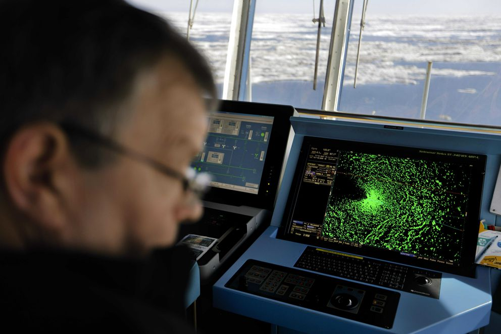 In this July 16, 2017, photo, a radar shows sea ice ahead of the Finnish icebreaker MSV Nordica as chief officer Harri Venalainen navigates the Beaufort Sea. (AP Photo/David Goldman, File)