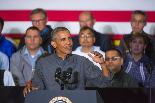 President Barack Obama speaks to Kotzebue residents at the Kotzebue high school on Wednesday, September 2, 2015.