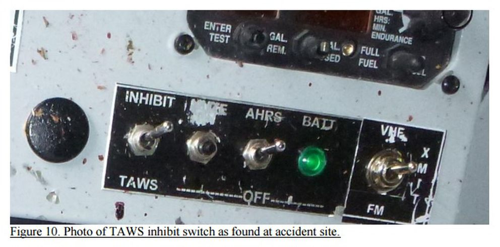 "The terrain avoidance warning system in a crashed de Havilland Otter, disabled by the ""inhibit"" switch, as found after a fatal June 25, 2015, wreck near Ketchikan. (From NTSB)"
