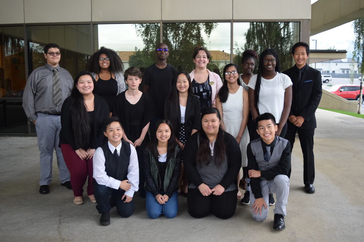 Members of the 90% by 2020 Anchorage Graduation Youth Task Force. Back row, from left: Filiberto Barajas Jr., Anessa Feero, Terance McKnight Jr. , Marcia LaSalle, Maija Smith-Mclendon, Chue Lee. Middle row, from left: Pa Ying Thao, Sasha Addison, Mor Her, Joanne Encabo, Haita Sallah. Front row, from left: Mary Lee, Seekia Vang, Mee Yang, Mon Vang.