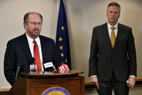 "Attorney General Kevin Clarkson speaks at a press confernce on September 26, 2019. Gov. Mike Dunleavy, right, issued a new administrative order requiring all unionized public employees to ""opt in"" to their union if they want to continue being a part of the union. (Marc Lester / ADN)"