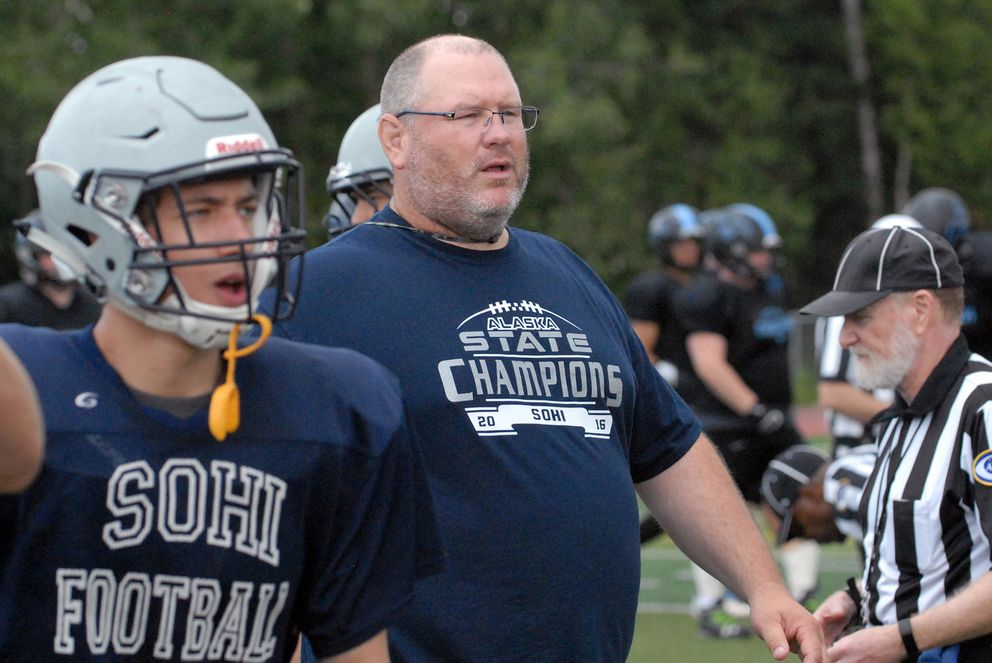 Soldotna head coach Galen Brantley gives instructions to his team during a scrimmage against Chugiak last week. The Stars will take a 59-game winning streak into their season-opening game Friday.  (Matt Tunseth/Alaska Star)